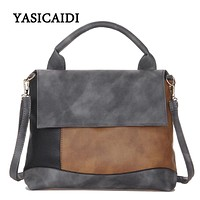 Fashion Patchwork Pu Leather Handbags Casual Women Luxury Brand Shoulder Bag Designers for Women 2017 Ladies Hand Bags