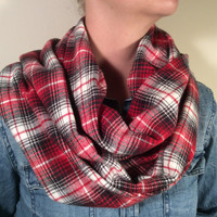 Handmade Infinity Scarf Plaid Flannel - Double Layer Super Warm!  Red and White, Christmas Present, Stocking Stuffer
