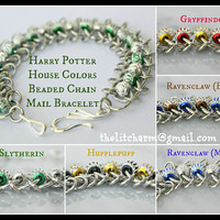 Harry Potter Beaded Chain Mail Bracelet in House Colors Gryffindor Hufflepuff Ravenclaw Slytherin