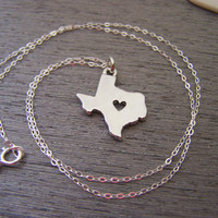 Texas State Heart Cut Out Charm Sterling Silver Necklace / Gift for Her - Texas Necklace - State Necklace - Geography Necklace