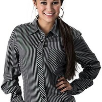 Cruel Girl Women's Black, Grey & Green Lurex Stripe Long Sleeve Western Shirt