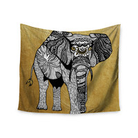 """Pom Graphic Design """"Golden Elephant"""" Wall Tapestry"""