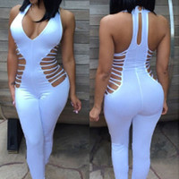 White Deep V-Neck Strappy Cut-out Jumpsuit