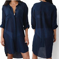 New Beach Cover up robe Plage Pocket Swimsuit Cover up Sarong Beach Shirt Tops Bathing Suit Women Beachwear Pareo Tunic #Q469