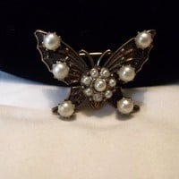 Estate Faux Pearl Cluster Brass Butterfly Insect Vintage Pin 1940's