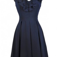 Ruffled and Ready Chiffon A-Line Dress in Navy