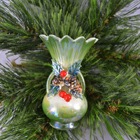 Vintage Mid Century Small Christmas Vase With Lustre Finish