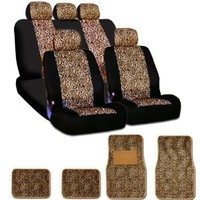 New and Unique YupbizAuto brand Safari Cheetah Print Universal Size Car Truck SUV Seat Covers and Floor Mats Set High Quality Velour and Mesh Material Gift Set Smart Pocket Feature