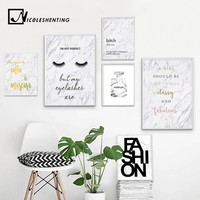 NICOLESHENTING Fashion Canvas Art Poster Print Perfume Eyelashes Marble Painting Nordic Style Wall Picture for Living Room Decor