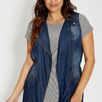 plus size chambray anorak vest | maurices