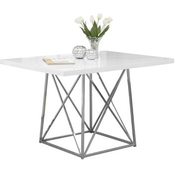 """Dining Table - 36""""X 48"""" / White Glossy / Chrome Metal"""