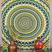 Indian Tapestry Autumn Spring Leaves Wall Hanging Cotton Throw Single Bed Sheet