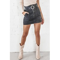 Out And About Black Denim Mini Skirt