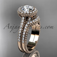 "14kt rose gold diamond floral wedding set, engagement ring with a ""Forever One"" Moissanite center stone ADLR101S"