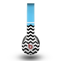 The Solid Blue with Black & White Chevron Pattern Skin for the Beats by Dre Original Solo-Solo HD Headphones