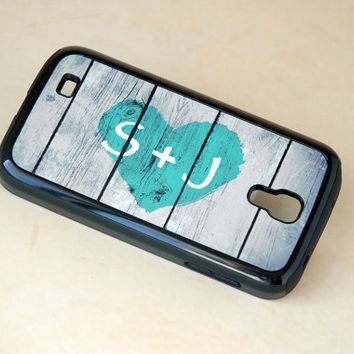 Rustic Country Heart + Initial Monogram Protective Galaxy S4 Phone Case + teal, iPhone 6 Case, 6s Case for Couples