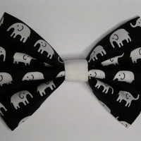 White Elephants fabric hair bow clip, Hair clips for kids and teens, hair clips for women, small hair bows