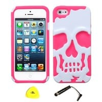 For Apple iPhone 5 5S - Wydan Hybrid Shockproof Hard Soft Case-White on Pink w/ Wydan Stylus Pen, Prying Tool