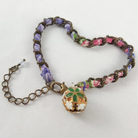 Purple Kimono bell bracelet, Japanese, Asian, Bohemian, Hippie