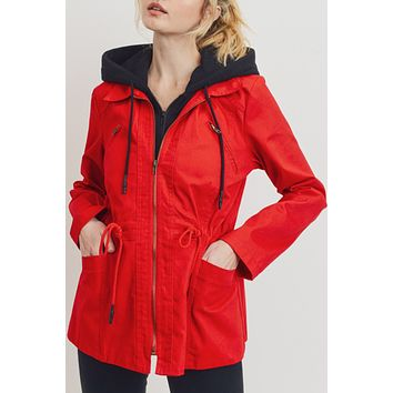 Contrast Hoodie Anorak Jacket with Drawstring Waist