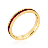 Stylish Stackables With Garnet In Gold Crystal Ring, size : 08