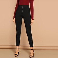 Black Buttoned Fly Skinny Plain Pants Highstreet Solid Slim Crop Women Casual Streetwear Leggings