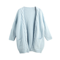 Light Blue Long Sleeve with Thick Twist Details and Pocket Loose Fit Knitted Cardigan