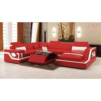 Contemporary Infinite Comfort Modern Leather Sectional Sofa Set