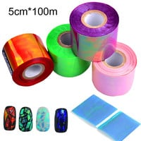 New 1roll Holographic Shiny Laser Nail Transfer Foil Sticker Broken Glass DIY Nail Art Beauty Decoration Manicure Tools