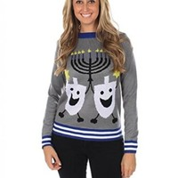 Women's Ugly Christmas Sweater - The Hanukkah Sweater Blue