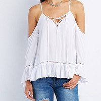 Ruffle-Trim Lace-Up Cold Shoulder Top