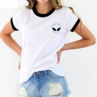 Casual Round Neck Alien Embroidered Short Sleeve T Shirt