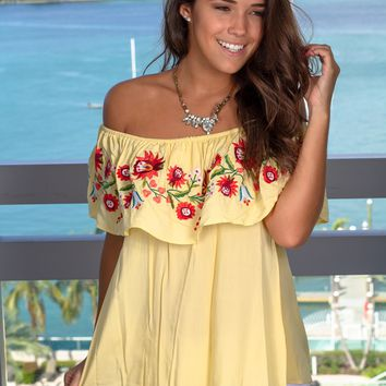 Yellow Floral Off Shoulder Top