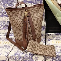 GUCCI new product full printed GG ladies stitching color two-piece bucket bag diagonal bag