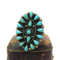 Statement Turquoise Ring. Petit Point Native American Zuni Style. Taxco Sterling Silver. Vintage 1980's Mexico Southwestern Jewelry