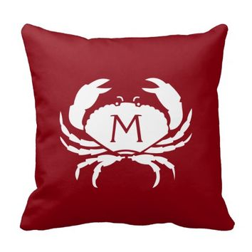 Two-Sided Nautical Red Crab Monogram Pillows