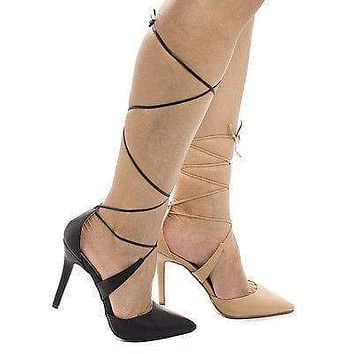 Isabel35 By Breckelle's, Pointy Toe Leg Wrap Stiletto High Heel Pumps