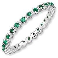 Prong Set Created Emerald Eternity Stackable Ring