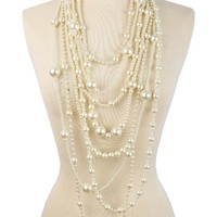 Ella Multi-Functional Simulated Pearl Statement Necklace and Earrings Set