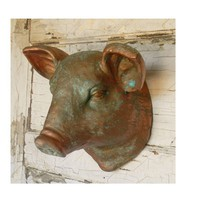 French Country Copper Verdigris Pig Head - Colorful Cast and Crew