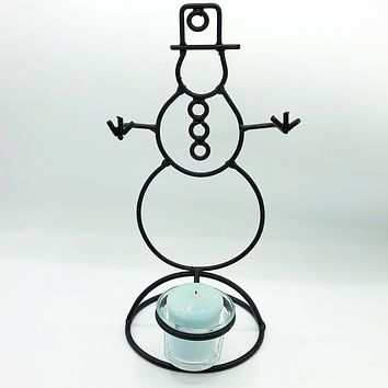 Black Metal Snowman Silhouette Candle Holder