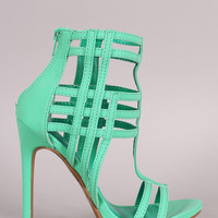 Shoe Republic LA Nubuck Caged Open Toe Stiletto Heel
