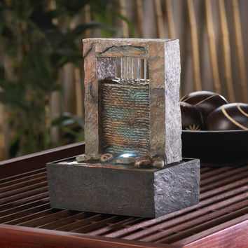 Elegant Indoor Cascading Tabletop Water Fountain With LED Light Decor