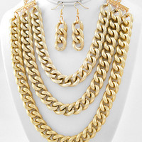 Layer Me in Gold Multi Chain Link Necklace