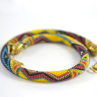 """Bead Crochet Necklace """"Mexico"""" Yellow  Blue  Red  Black Beadwork  Jewelry  Tribal  Folk  Multicolors  Made to order"""