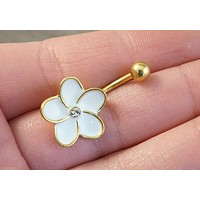 Gold and White Flower Belly Button Jewelry Ring
