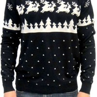 Ugly Christmas Sweater Humping Reindeer and Snow Adult Navy Sweater