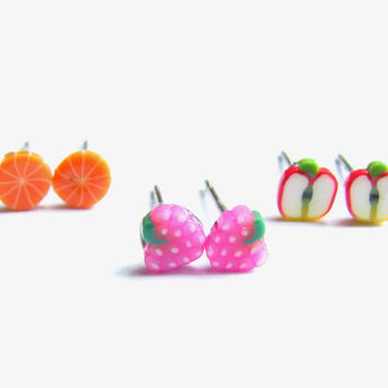 Sliced Fruit Earrings - Set of 3 Small Stud Earrings, Polymer Clay Fruit Studs, Strawberry, Apple, Orange Cute Stud Earring