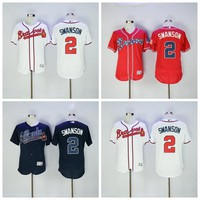 Flexbase 2 Dansby Swanson Jersey Atlanta Braves Dansby Swanson Baseball Jerseys Flexbase Dark Blue Red White Color Team Embroider Logos