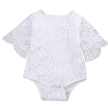 Baby Girls White Lace Boho Short Batwing Sleeve Romper One Piece Onesuit
